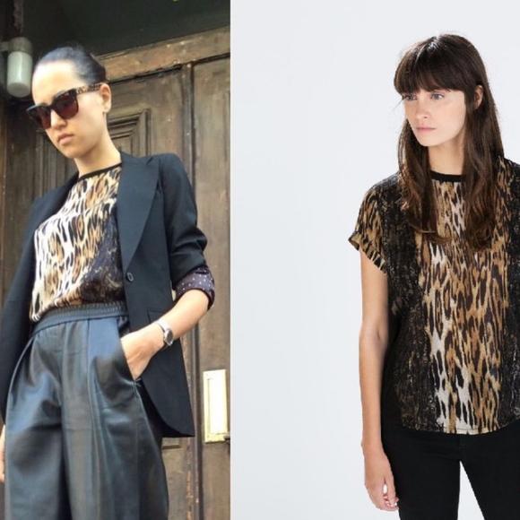 a9edcd6c Zara Tops | Leopard Print Animal Print Lace Silky Tee | Poshmark
